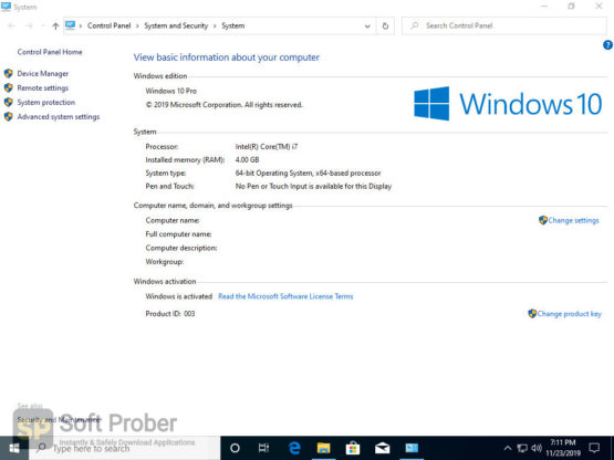 Windows 10 Pro en US v1909 x64 2021 Direct Link Download-Softprober.com